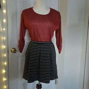Striped Black and White Pleated Skirt with Pockets