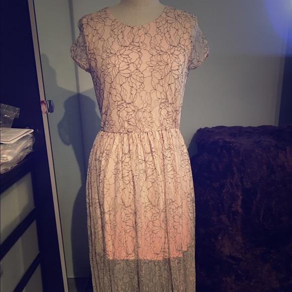 161bfad648 Zara Blush Pink Black Sheer Lace Dress. M 57f82252bf6df5941902ca8f