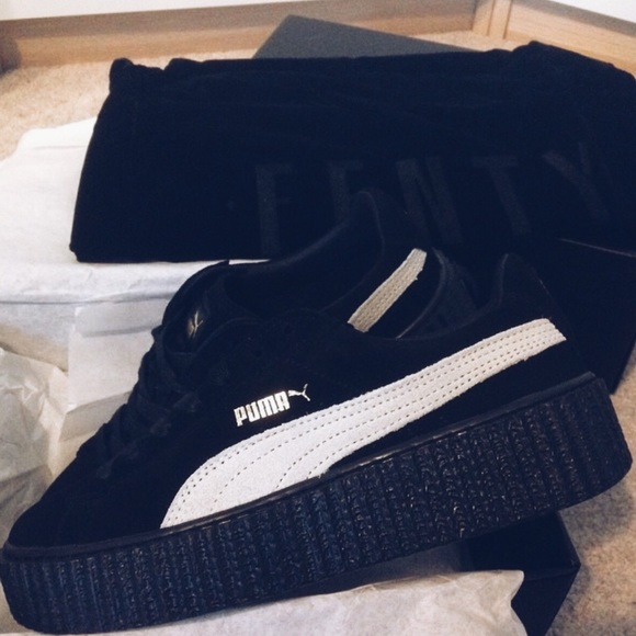 lace up in amazing quality fair price Puma Fenty Black White Suede Platform Creepers