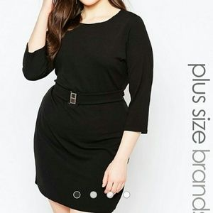 a79a65409afd8 ASOS Curve Dresses - ASOS Curve Belted Shift Little Black Dress Sz 18