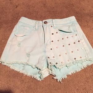 Mint green studded shorts