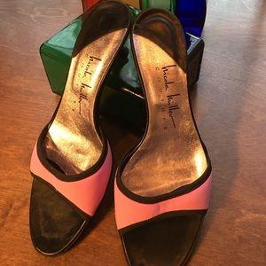 Nicole Miller Couture Pink Black Shoes Kitten Heel