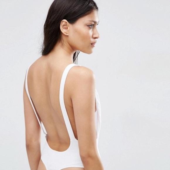American Apparel Tops - NWOT AMERICAN APPAREL WHITE Backless Bodysuit 903531ef8