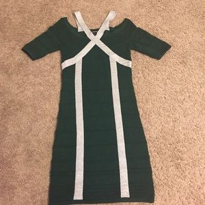 WOW couture Dresses & Skirts - WOW Couture BodyCon Bandage Green Silver Dress