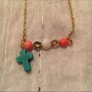 Handmade Turquoise cross & stones necklace