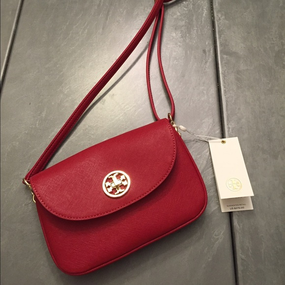 78f9f4a9916 Red Tory Burch leather mini cross body bag
