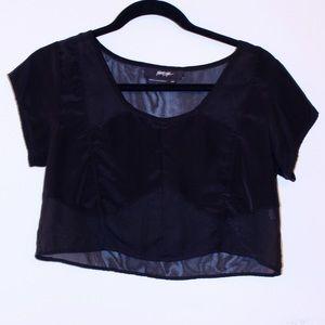Nasty Gal black mesh crop top