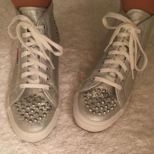 2xHost pick!! Superga silver studded high tops