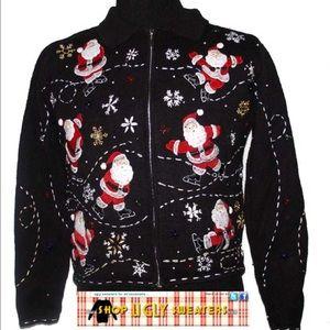 Ships Immediately! Santa Zip Up Sweater  #156
