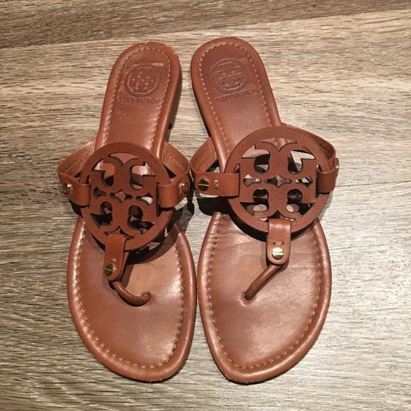 205012124 Tory Burch Brown Miller Sandals 10. M 57f854875c12f8a7aa033c4a