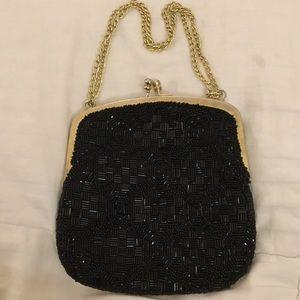 Black All Beaded Evening Bag