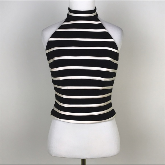 55846dc07895b Cache Tops -  Cache  Striped Halter Top Dressy Crop Chic Black
