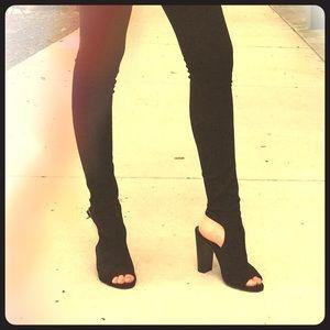 Black suede open toe booties