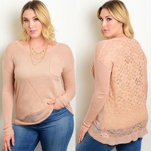 CLEARANCE Plus Size Light Knit Lace Sweater