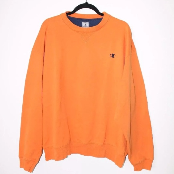 e7a9be30 Champion Sweaters | Vintage Orange Logo Crewneck Sweatshirt | Poshmark