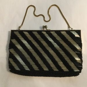 Striped Beaded Evening Bag