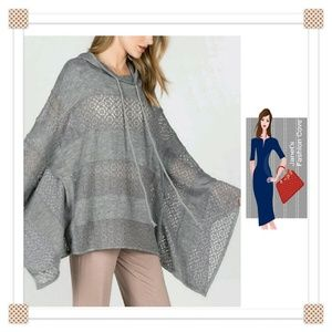 Sweaters - Cyber Monday Deal! - Gray Hooded Poncho