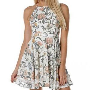 Muted Floral Halter Dress with Lace Ribbon Trim
