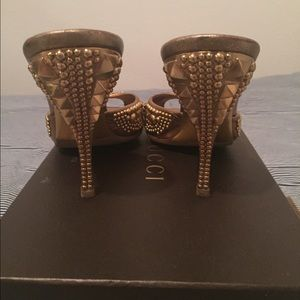 66a859d2494 Gucci Shoes - Authentic Gucci gold embellished heels slides 7.5
