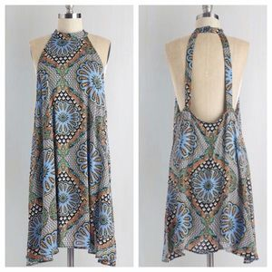 Medallion Print Open-Back Dress