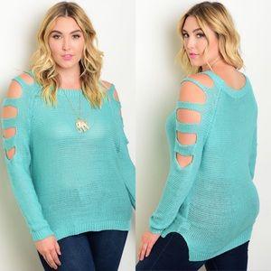 Boutique Sweaters - Plus Size Mint Cut-Out Shoulder Crochet Sweater