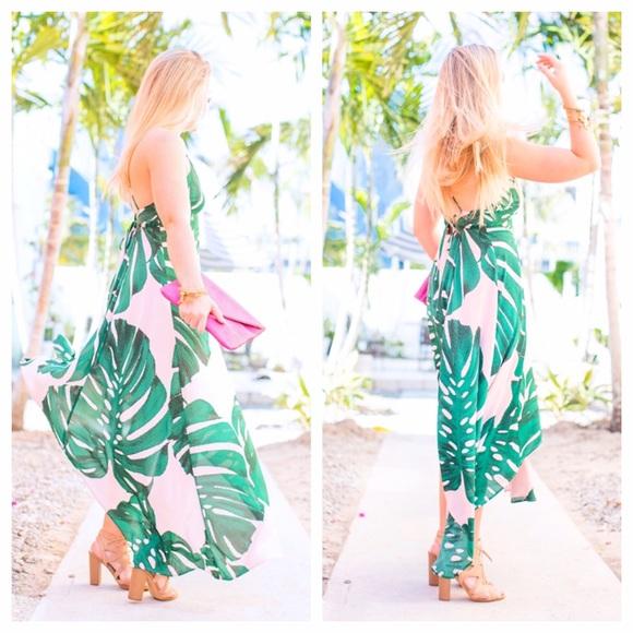 Express Dresses - Palm Print Sundress 🌴