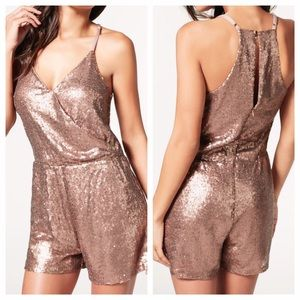 JustFab Pants - Rose Gold Sequin Romper