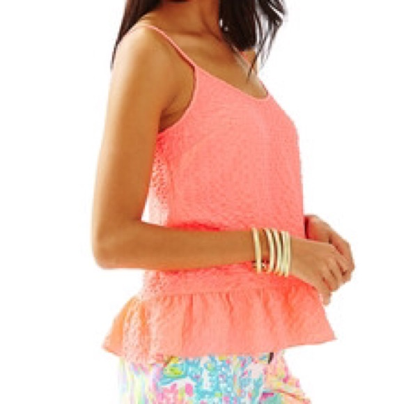 Lilly Pulitzer Tops - Lilly Pulitzer Textured Tank in Neon Coral