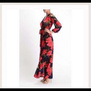Rose Print Wrap Maxi Dress