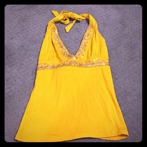Yellow Embellished Halter Top