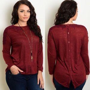Plus Size Red Wine Slub Button Back Sweater Top