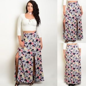 Plus Size Floral Front Slit High Waist Maxi Skirt