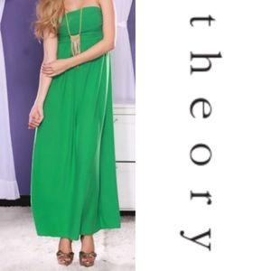 Theory Dresses & Skirts - Gorgeous Emerald Empire Waist Linen Maxi Dress 🍃