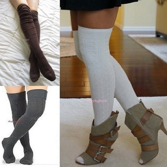 aea344556 Cable Knit Over The Knee Cuff Socks Thigh High OTK. NWT
