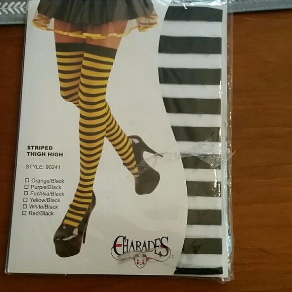 9e24e6226d0 Thigh high striped socks black and white