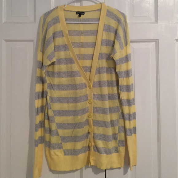 88% off Express Sweaters - Express cardigan - yellow and gray ...