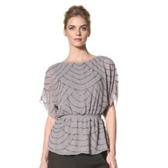 3459afcdcba8bc Adrianna Papell Beaded Blouson Top Gray S