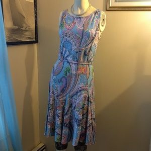 Ralph Lauren Dresses & Skirts - Ralph Lauren Blue, Pink + Green Paisley Dress