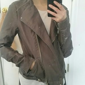 Faux Leather Jacket Grey Size S M
