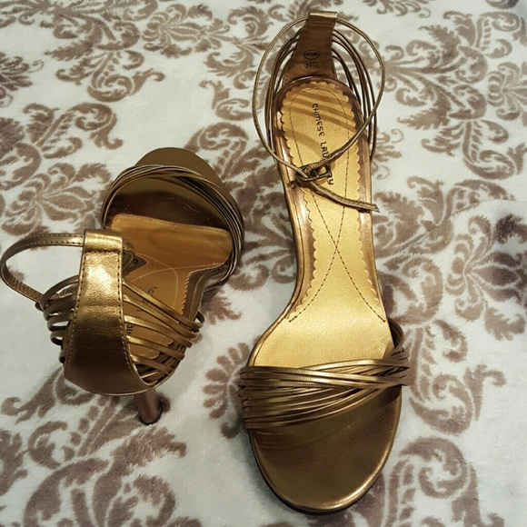 53d2c91ee66a Chinese Laundry Shoes - Dark Gold Strappy Evening sandals Chinese Laundry