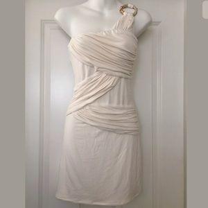 Nwt sky brand Ivory snake one shoulder dress Sz M