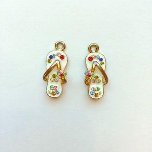 Jewelry - Vintage Enamel & Rhinestone Sandal Charms