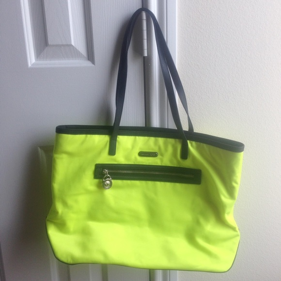 a852d4dda40a Michael Kors Bags | Neon Yellow Kempton Nylon Tote Purse | Poshmark