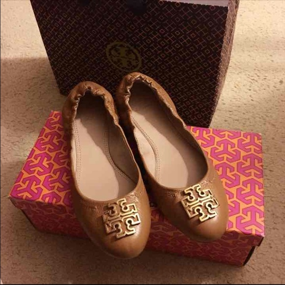 Tory Burch Tan Melinda Flats with Gold