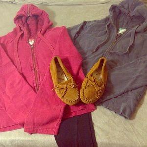 Pink & Grey Old Navy Thermal Hooded Zip Up