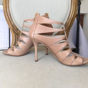 New Michael Kors beige leather caged heels