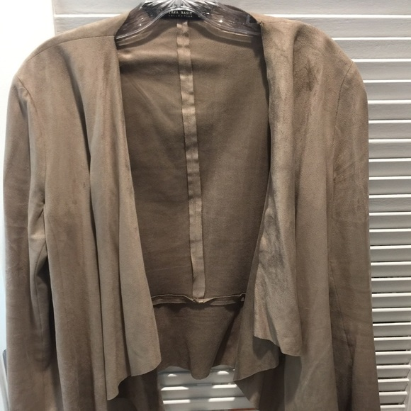 normal lyst in product suede draped stone clothing drapes jacket natural halston
