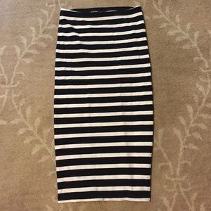 Express Striped Stretch Pencil Skirt