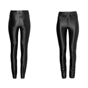 HM Leathercraft Denim - Slim-fit pants with a glossy finish.