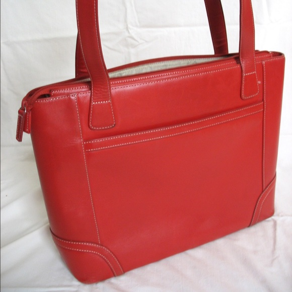 0dc27ed1b Levenger Bags | Red Leather Computer Bag Tote | Poshmark